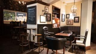 The Duke of Wellington pub in Cardiff on Friday was virtually empty