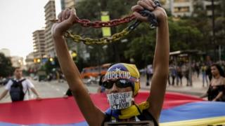 Anti-government protestor in Caracas, 31 March