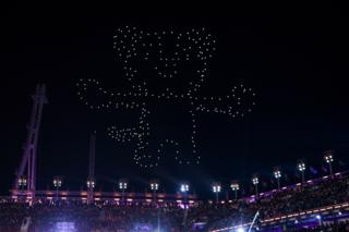 Drones light up the sky above the Olympic stadium