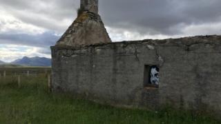 Graffiti on croft house