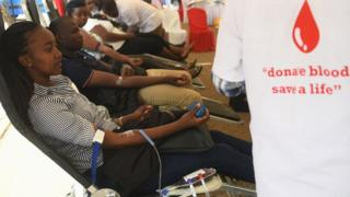 Volunteers are pictured at the Kenya National Blood Transfusion Service (KNBTS), during the Kenya weeklong blood drive, in Nairobi, on September 11, 2019