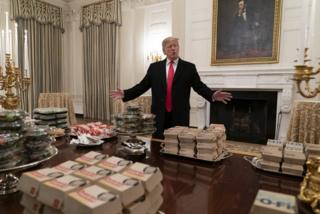 US President Donald Trump with fast food