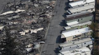 Mobile homes were destroyed at the Journey's End Mobile Home Park on 11 October, 2017