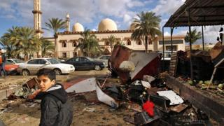Aftermath of car bomb attack in Libyan city of Benghazi (24 January 2018)