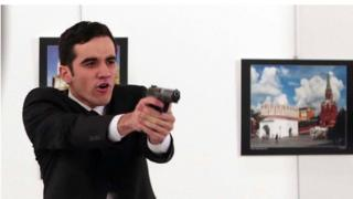 Turkish policeman Mevlut Mert Altintas photographed immediately after shooting Russian ambassador Andrei Karlov