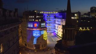 Broadcasting House on the night the EU referendum votes were counted