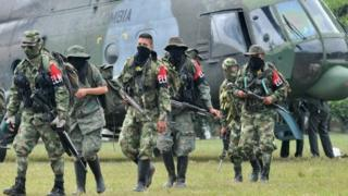 Demobilized members of the ELN (National Liberation Army) arrive in Cali, Colombia on July 16, 2013.