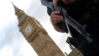 Armed police officer outside Parliament