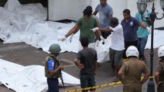 Corpos de vítimas dos atentados do Sri Lanka
