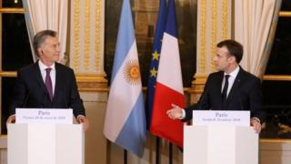 Argentina's President Mauricio Macri and France's President Emmanuel Macron speak during a press conference at the Elysee Palace in Paris, France, January 26, 2018.