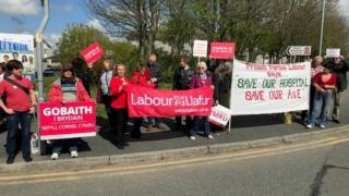 Protest group outside Withybush hospital