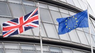 The Union flag and the EU flag