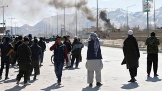عکسی از صحنه یک انفجار در کابل
