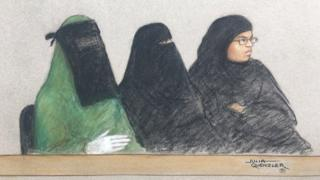 A drawing of the Three women in court
