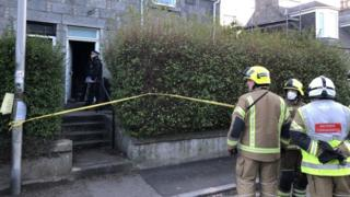 Fire officers at the scene