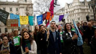 Climate protesters in Westminster
