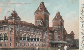 A picture postcard showing the then post office of Chennai (formerly Madras)
