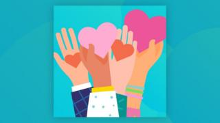 graphic of hands holding hearts