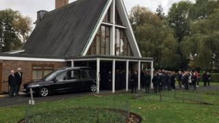 Outside the service at Emstrey Crematorium in Shrewsbury