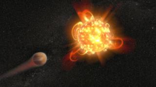 ภาพจำลองดาวฤกษ์ชนิดดาวแคระแดง (ขวา) ขณะเกิดซูเปอร์แฟลร์ที่ปลดปล่อยพลังงานอย่างรุนแรง จนทำลายชั้นบรรยากาศของดาวเคราะห์บริวาร (ซ้าย)
