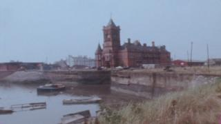 Pierhead building in a derelict Cardiff Bay circa 1977