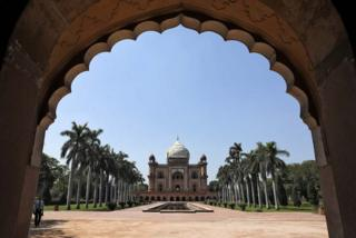 Empty Safdarjung Tomb monument in New Delhi, India