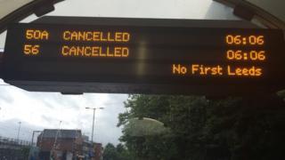 Bus stop sign in Leeds
