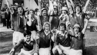 Ipswich Town celebrate winning the FA Cup after their 1-0 victory: (back row, l-r) Brian Talbot, Clive Woods, Roger Osborne, Mick Mills, Paul Cooper, Kevin Beattie, George Burley, Paul Mariner (front row, l-r) Mick Lambert, David Geddis, Alan Hunter, John Wark