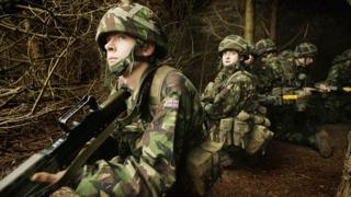 Army recruits go through basic training at the Army Training Regiment on March 9, 2005 in Winchester, England