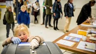 Ballot box and voters in the Netherlands