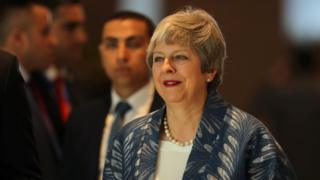 Theresa May arriving in Sharm el-Sheikh