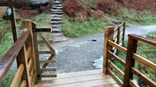 Damage to gate in White Moss area of Lake District