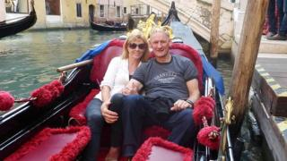 Sadie Hartley with her partner Ian Johnston in Venice, in October 2015