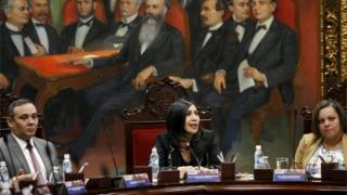 Venezuela's Supreme Court President Gladys Gutierrez (C) speaks during a meeting with members of the court and the newly named justices at the Supreme Court building in Caracas December 23, 2015.