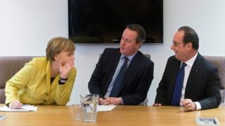 German Chancellor Angela Merkel, British Prime Minister David Cameron and French President Francois Hollande