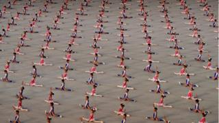 Children doing a gymnastics performance