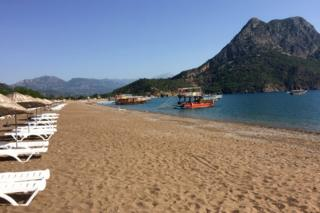 Boats wait for tourists in Adrasan in the Olympos area, about 100km west of Antalya, Turkey, 1 June