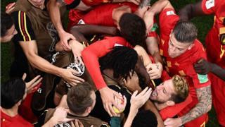 Belgium players celebrate