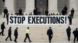 Anti-death penalty protest outside the Supreme Court in the US.