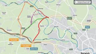 Map of new western link for Norwich bypass