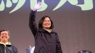 Tsai Ing-wen en un acto de campaña.