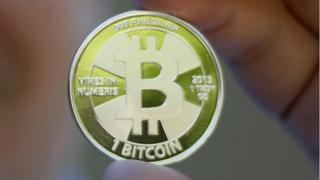A tangible example of the virtual currency bitcoin