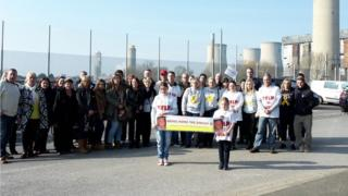 Family members protesting at the site