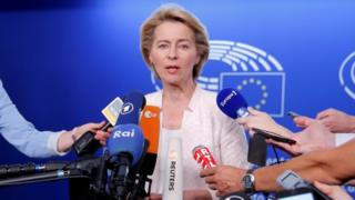 German Defence Minister Ursula von der Leyen, who has been nominated as European Commission President, attends a news conference during a visit at the European Parliament in Strasbourg, France, on 3 July 2019.