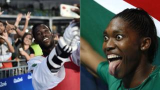 L: Ivory Coast's taekwondo gold medallist Cheick Sallah Cisse takes a selfie with the crowd R: South Africa's 800m gold medallist Caster Semenya