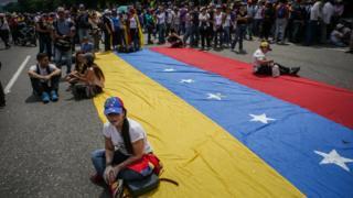 Uno de los sentones en Caracas