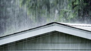 Rain on shed roof
