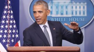 Barack Obama hablando en la conferencia de prensa.