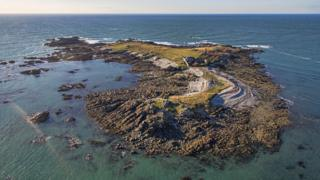An aerial image of Lihou Island in Guernsey