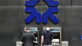 RBS sign and cash machines